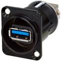 Neutrik NAUSB3-B Feed Through USB 3.0 Compatible - Reversible - Black