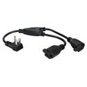 16 Inch 90 Degree Flat-Plug AC Splitter Adapter - 2 Pack