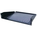 Ventilated Black Finish Rackmount Shelf - 2RU