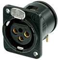 Neutrik NC3FDM3-H-B 3 Pole Female Receptacle - Horizontal PCB Mount Black/Gold