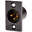 Neutrik NC3MP-B Male 3-Pin XLR Chassis Mount Black Shell/Gold Contacts