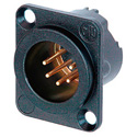 Neutrik NC5MD-LX-B 5 Pole Male Receptacle - Solder Cups Black & Gold