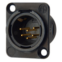 Neutrik NC6MSD-L-B-1 Receptacle DL1 Series 6S Pin Male - Solder Cups - Black/Gol