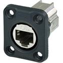 Neutrik NE8FDX-P6-W D-shape CAT6A Panel Connector - Shielded/ Feedthrough/ Rubber Sealing/ IP65 When Mated/ Nickel