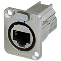 Neutrik NE8FDX-P6 D-shape CAT6A Panel Connector - Shielded/ Feedthrough/ Nickel Housing