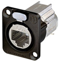 Neutrik NE8FDX-Y6-B D-shape CAT6A Panel Connector - Shielded/ IDC Termination/ Black Housing