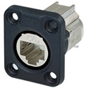 Neutrik NE8FDX-Y6-W D-shape CAT6A Panel Connector - Shielded/ IDC Termination/ Rubber Sealing/ IP65 When Mated/ Nickel