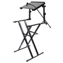 Odyssey LTBXS2MTCP X-Stand Combo Pack Dual Tier Heavy-Duty Folding Stand with Mic Boom & Laptop / Gear Shelf - Black