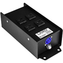 Laird PAC-MCAACX5 Type A powerCON In & 4 Breakered NEMA 5-15 Outlets Power Breakout Box with Pass Through