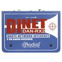 Radial Engineering DiNet DAN-RX2 Dante Network Receiver - Ethercon Input with Stereo XLR Analog Outputs