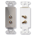 RDL DS-PHN2 Dual RCA Jacks on Decora Wall Plate - Solder type - Stainless steel