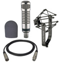 An Electro-Voice RE27ND Mic with 309A Suspension Mount WT20421-01 Foam Windscreen and XLM-XLF-15 15ft Mic Cable Kit