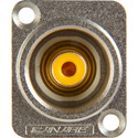 Canare RJ-BCJRUD Panel Mount RCAF to BNCF w/D Series Hole Nickel Finish - Yellow