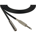 Sescom SC3SSJ Audio Cable Canare Star-Quad 1/4 Inch TS Male to Female Black - 3 Foot