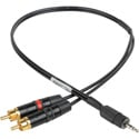 Sescom SES-IPSUMRCA12IN Stereo RCA to TRRS 3.5mm Plug Line to Mic Level iPhone / iPod / iPad Summing Cable - 12 Inch