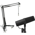A Shure SM7B Podcast Mic Kit with MXL BCD-STAND Mic Boom Arm with Attached 12ft. Mic Cable