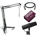 A Shure SM7B Mic Kit with Radial McBoost and MXL BCD-STAND Mic Boom Arm With 12ft Mic Cable