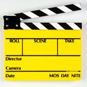 SLT-11 Director Slate Clapboard - Yellow Film Slate with Black & White Sticks