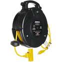 Stage Ninja STX-50-3 50 ft Retractable Power Reel with 3-Tap Head and Circuit Breaker (14/3 AWG)