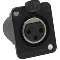 Switchcraft DE3FBX DE Series Female Panel Mount Connector 3 Contacts Black Finis