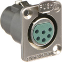 Switchcraft DE6F DE Series Panel Mount - XLR Female 6 Silver Pins Nickel Finish