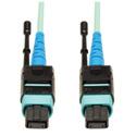 Tripp Lite N846-01M-24-P MTP/MPO Patch Cable 100GBASE-SR10 CXP 24 Fiber 100GbE OM3 Plenum-Rated - Aqua 3 Feet