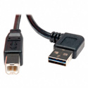 Tripp Lite UR022-003-RA USB 2.0 Right-Angle Reversible A Male to B Male - 3 ft.