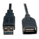 Tripp Lite UR024-001 USB 2.0 Reversible A Male to A Female Extension - 1 ft.