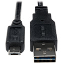 Tripp Lite UR050-001 Universal Reversible USB 2.0 Hi-Speed Cable (Reversible A to 5Pin Micro B M/M) 1 Feet
