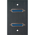 MCS WPBA-1151 1-Gang Black Anodized Wall Plate w/Two 25-Pin D-Sub Female Barrels