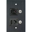 MCS WPBA-1183 1-Gang Black Anodized Wall Plate with 1-RJ45/1-RJ11 & 2- FJ-FJCM Barrel Connectors