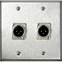 2-Gang Black Anodized Wall Plate with  Neutrik XLRM and XLF 3 Pin