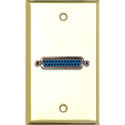 MCS WPBR-1150 1-Gang Brass Wall Plate with One 25-Pin D-Sub Female Barrel