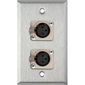 1-Gang Stainless Steel Wall Plate w/2 Neutrik Latching 3-Pin XLR Female Connectors