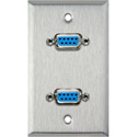 MCS WPL-1143 1-Gang Stainless Steel Wall Plate with Two 9-Pin D-Sub Barrels