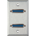 MCS WPL-1151 1-Gang Stainless Steel Wall Plate with Two 25-Pin D-Sub Female Barrels
