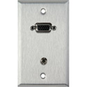 MCS WPL-1154-FT 1-Gang Stainless Steel Plate w/ 15-Pin HD Female Barrel - Stereo Mini Jack FeedThru
