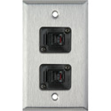 1-Gang Stainless Steel Wall Plate with 2 TecNec RJ11 Barrels