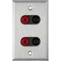1Gang Stainless Wall Plate w/2 Pomona Dual Banana Jacks 2-Black/2-Red