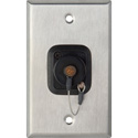 1G Stainless Steel Wall Plate w/ 1 OpticalCON QUAD and Dust Cap