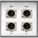 MCS WPL-2109 2-Gang Stainless Steel Wall Plate w/4 Neutrik XLR 3-Pin Male Connectors