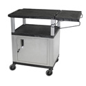 Black/Nickel 34-Inch Coffee Cart with Cabinet