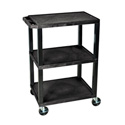 H Wilson WT34S - 34-Inch High Black Tuffy Utility Cart - 3 Shelves