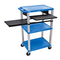 Blue 42-Inch Tuffy Cart - Nickel Legs with Keyboard & Side Shelf Plus Electric