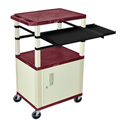Burgundy/Putty 42-Inch Tuffy Cabinet Cart w/Keyboard Shelf/Side Shelf/Electric