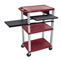 Burgundy 42-Inch Tuffy Cart - Nickel Legs w/Keyboard & Side Shelf Plus Electric