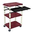 Burgundy 42-Inch Tuffy Cart - Putty Legs w/Keyboard & Side Shelf Plus Electric