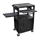 Black/Black 42-Inch Tuffy Cabinet Cart w/Keyboard Shelf/Side Shelf/Electric