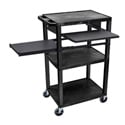 Black 42-Inch Tuffy Cart - Black Legs with Keyboard & Side Shelf Plus Electric