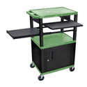 Green/Black 42-Inch Tuffy Cabinet Cart w/Keyboard Shelf/Side Shelf/Electric